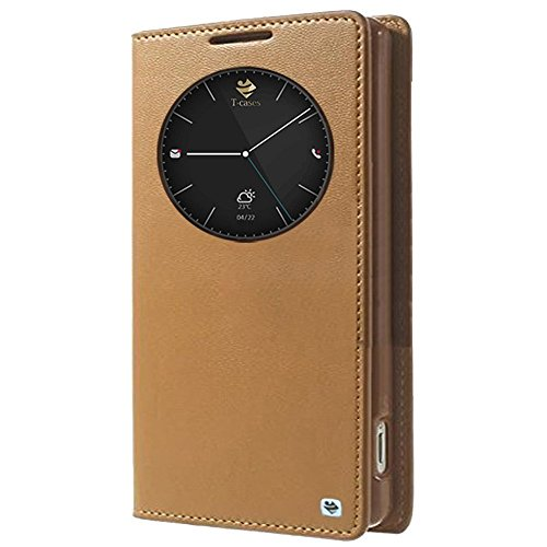 T-Cases Smart Info Circle Sensor Window Leather Flip Case Cover for Samsung Galaxy J7-Gold