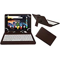 Acm Premium Usb Keyboard Case For Lenovo Tab 3 A8 Tablet Cover Stand With Free Micro Usb Otg - Brown