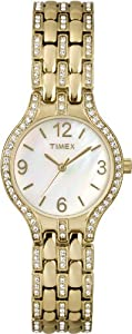 Timex Women's T2P2669J Crystal Mother-Of-Pearl Dial Gold-Tone Bracelet Watch