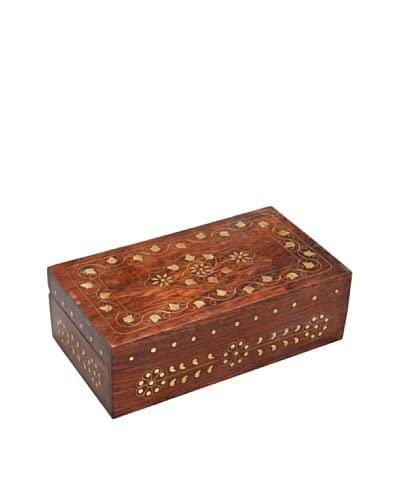 Mela Artisans Leaves of Gold Decorative Box  [Brown]