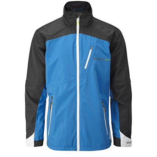 2015 Stuburt Sport Lite Thermal Rain Full Zip Waterproof Mens Golf Jacket Electric Blue/Titanium Large