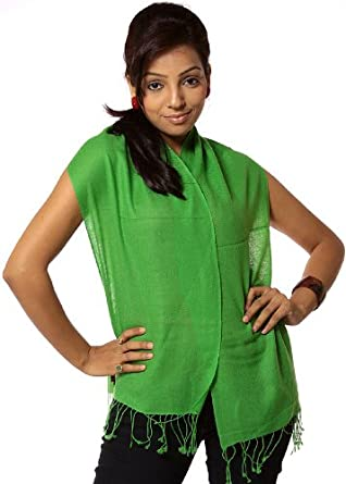 Exotic India Green Pure Pashmina Scarf from Nepal - Green