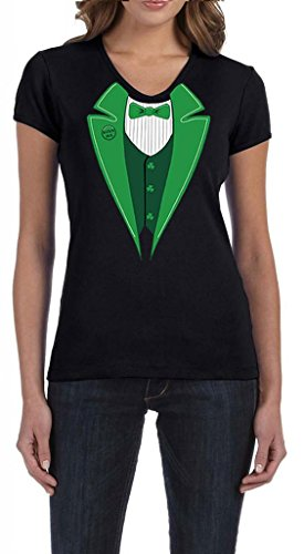 Ladies St Patricks Day Irish Tuxedo Black V-Neck Shirt XL