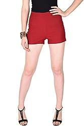 Maroon Zipper Shorts