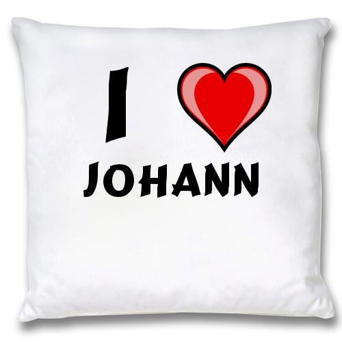 White Cushion Cover with I Love Johann (first name/surname/nickname) first love