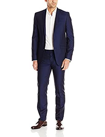 Andrew Fezza Men 39 S Blue Solid 2 Button Slim Fit Suit With