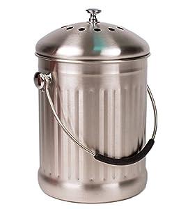 Countertop Compost Bin : Stainless Steel Kitchen Countertop Compost Bin with Silicone Grip By ...