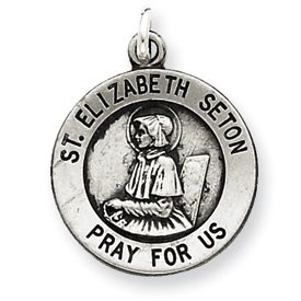 Sterling Silver Antiqued Saint Elizabeth Seton Medal