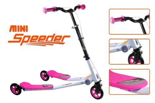 3 WHEELS KIDS MINI SPEEDER SLIDER WINGED SCOOTER TRI MOTION FLICKER DRIFTER (PINK)