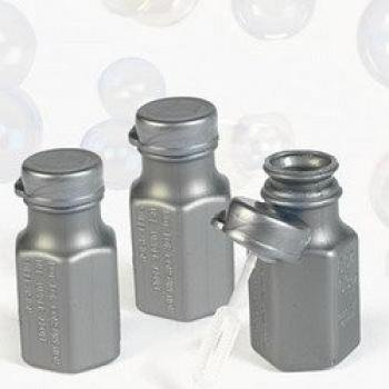 48 Silver Mini Hexagon Bubble Bottles