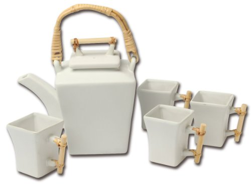Joyce Chen 90-3712, 5-Piece Flared Teapot Set, White