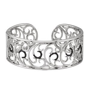 Genuine IceCarats Designer Jewelry Gift Sterling Silver Genunie Spinel And Diamond Hinged Cuff Bracelet