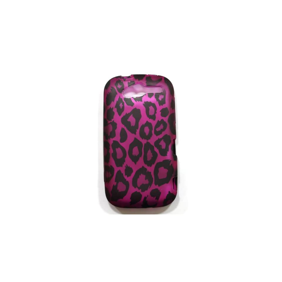 Purple with Black Leopard Spots Soft Silicone Skin Gel Cover Case for HTC HD MyTouch 4G