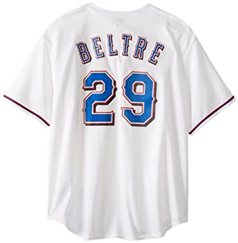 MLB Texas Rangers Adrian Beltre White Home Short Sleeve 6 Button Synthetic Replica... by Majestic