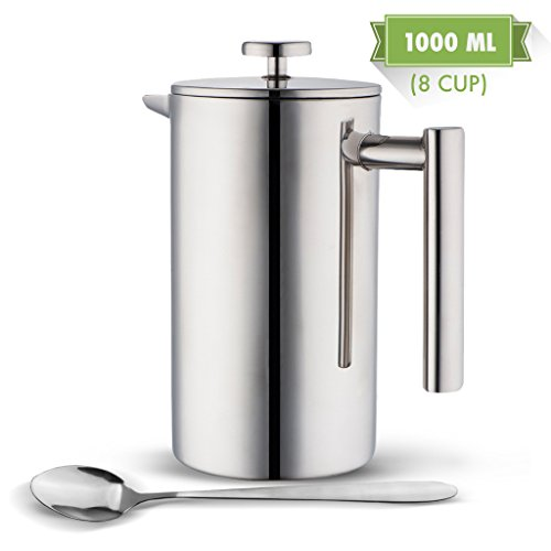 Double Wall Tea & Coffee Brewer | Stainless Steel Coffee Pot & Maker - French Press 1 Liter 34 Oz Coffee Pot with Bonus Long Spoon | by MIRA (Insulated Coffe Pot compare prices)