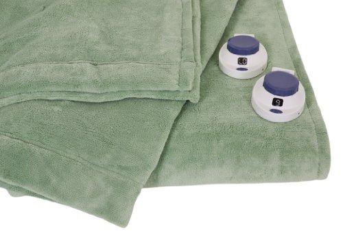 Serta Luxe Plush Low-Voltage Electric Heated Micro-Fleece Blanket, Queen, Emerald front-998984