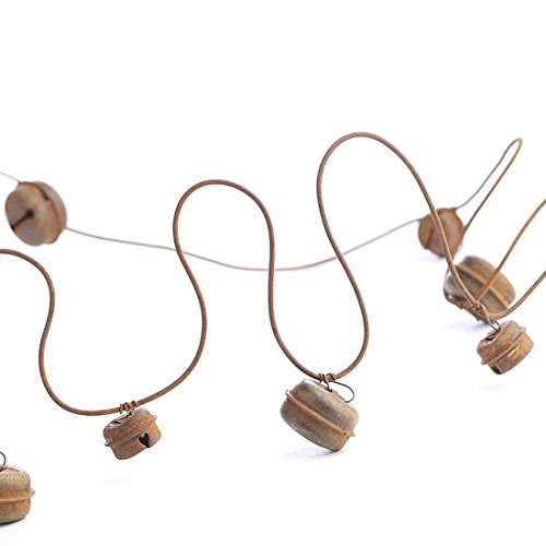 18 Feet of Rusted Wirand Primitive Jingle Bell Garland for Home Decor and Holiday Embellishing