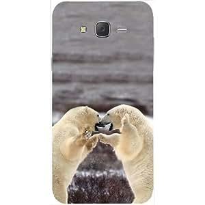 Casotec Polar Bear Fight Design Hard Back Case Cover for Samsung Galaxy J2