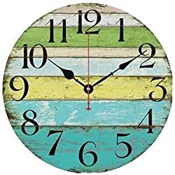 Grazing 5 Vintage Blue Green Yellow Colorful Stripe Design Rustic Country Tuscan Style Wooden Decorative Round Wall Clock (Ocean)