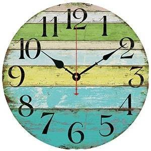 """Grazing 5"""" Vintage Blue Green Yellow Colorful Stripe Design Rustic Country Tuscan Style Wooden Decorative Round Wall Clock (Ocean)"""