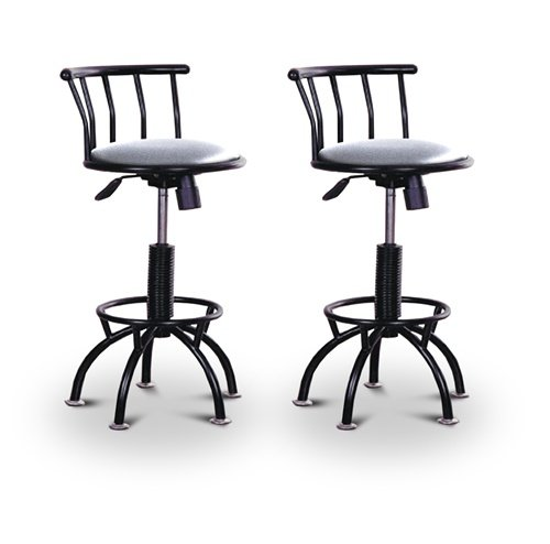 "2 24""-29"" Glitter Silver Seat Black Adjustable Specialty / Custom Barstools Set"