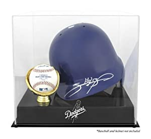 Los Angeles Dodgers Batting Helmet with Ball Holder Logo Display Case - Mounted... by Sports Memorabilia