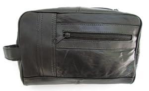 Mens Black Leather Shaving Kit Toiletry Bag Soft Lambskin #999D by Dangerous Threads