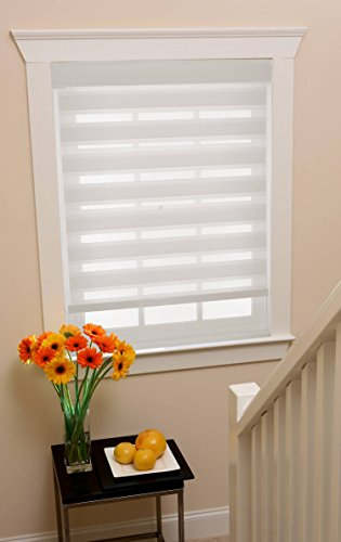 Modesta Collection White Cordless Sheer Double Layered Fabric Window Shade - 43