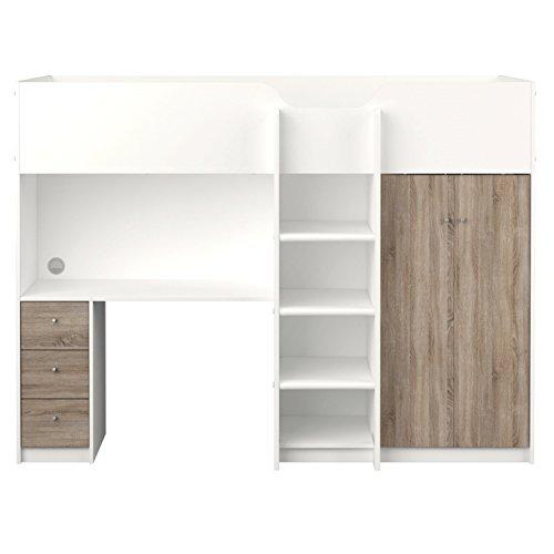 etagenbett irma 90x200 multifunktionsbett mit schreibtisch und schrank wei. Black Bedroom Furniture Sets. Home Design Ideas