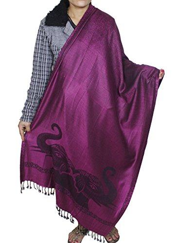 Caldo lungo scialle viola delle donne - indiano inverno modello elefante calda sciarpa di grandi dimensioni - 214 x 76 cm