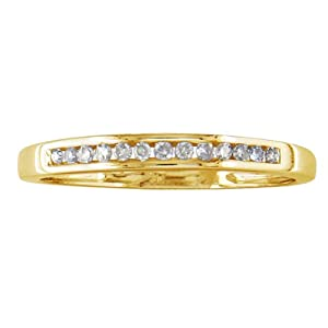10K Yellow Gold Channel Set Diamond Band, Available Ring Sizes 3-10, Ring Size 10 (1/8ct tw.)