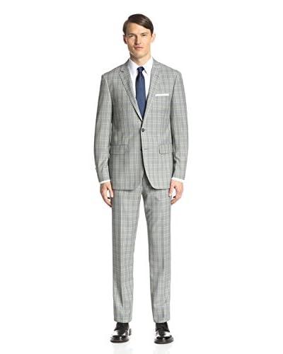 London Fog Men's Windowpane Slim Fit Suit