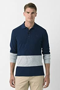 Long Sleeve Slubby Pique Color Block Polo Shirt