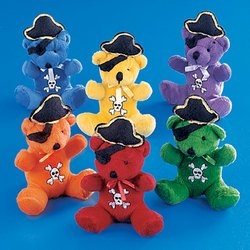 PLUSH PIRATE BEARS (1 DOZEN) - BULK