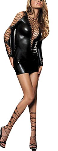 HKJIEVSHOP Sexy Lady Gothic Fetish Wetlook Catsuit Dress Cocktail Party Costume