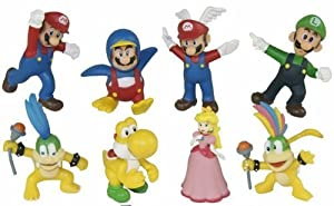 """Super Mario Brothers Set of 8 Figures Featuring Larry Koopa, Lemmy Koopa, Mario, Princes Peach, Yellow Yoshi, Luigi, Wing Mario, and Penguin Mario - Ranging from 2"""" to 4"""" Tall"""