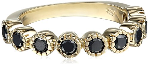 10k Yellow Gold 9-Stone Black Diamond Ring (3/4 cttw), Size 6