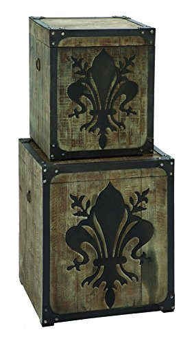 Benzara French Fleur-De-Lis Storage Box Set With Aged Wood front-812639