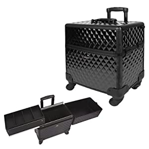 Amazon.com: 15 Inch 360 Rotation Black Diamond Design 2 Way Easy Slide Trays Aluminum Professional Makeup Artist Wheeled Rolling Cosmetic Travel Train Case Beauty Storage Organizer: Beauty