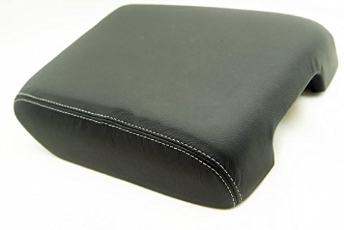 Fits 2013-2014 Nissan Pathfinder Real Black Leather Console Lid Armrest Cover with Gray stitching. (Leather Part Only) (Nissan Pathfinder Armrest Cover compare prices)