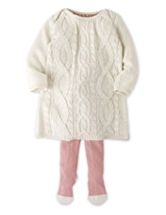 2 Piece Autograph Cotton Rich Cable Knit Dress & Tights Outfit