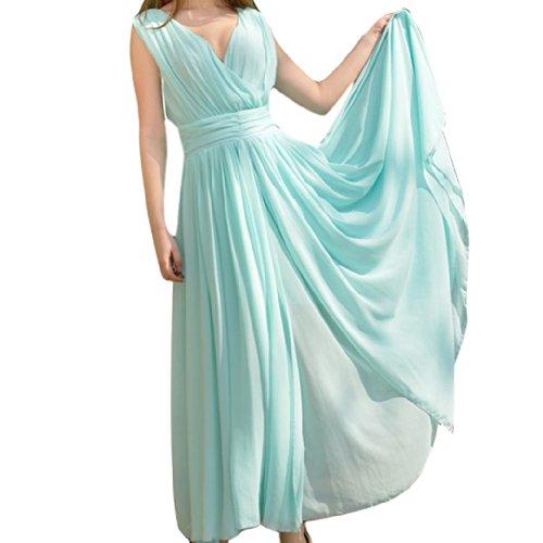 Bohemia Women Ladies Sleeveless Chiffon Sexy Deep V-Neck Wrap Dresses Size L - Blue