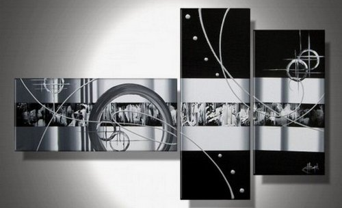 White on Black Canvas Paintings Black And White Abstract Wall