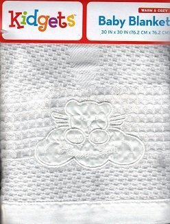 "White Swaddle ""Heaven Sent"" Baby Blanket, Satin Edged."