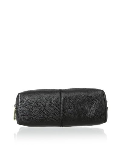 Zenith Women's Leather Cosmetic Bag, Black