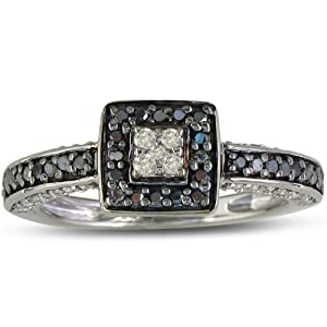 .40ct Polished Black and White Diamond Engagement Ring in Sterling Silver