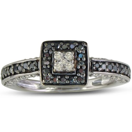 40ct polished black and white engagement ring in
