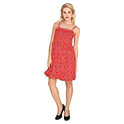 Dede's Heart Print Crepe Bubble Dress-Red