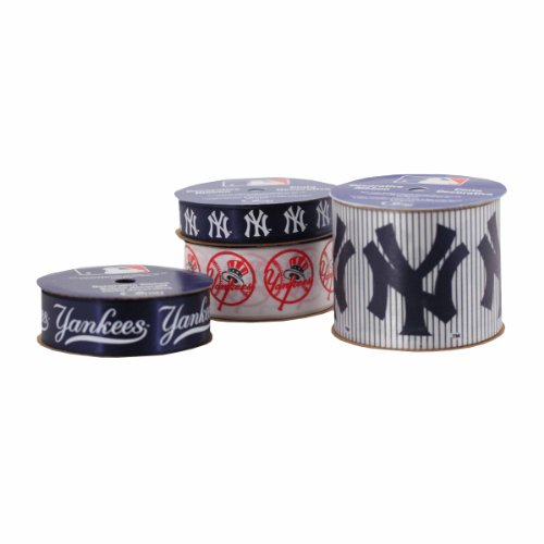 Offray 4-Pack Mlb New York Yankees Ribbon, Blue/White/Red