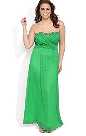 Deb Junior Plus Size Strapless Long Prom Dress with